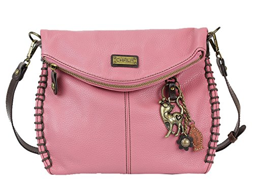Top Handbag Zipper with Slim Crossbody Chala Chain Shoulder Cross Bag Metal Purse Charming With Flap or Flap Body Cat Pink and qwFB4XwZH