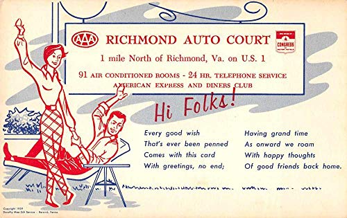 Richmond Virginia Auto Court Advertising Antique Postcard J78119