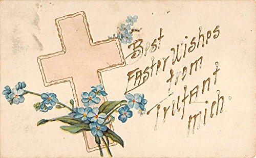 Trufant Michigan Best Wishes Religious Cross Flowers Antique Postcard K40413 ()