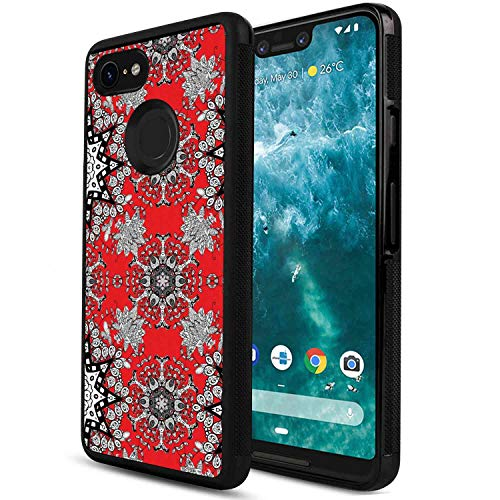 (Case Compatible with Google Pixel 3 XL [6.3 Inch] Red Mandala Tribal Ethnic Floral Swirls Leaves Lace Seem Hand Drawn Image Scarlet Grey Black and White )