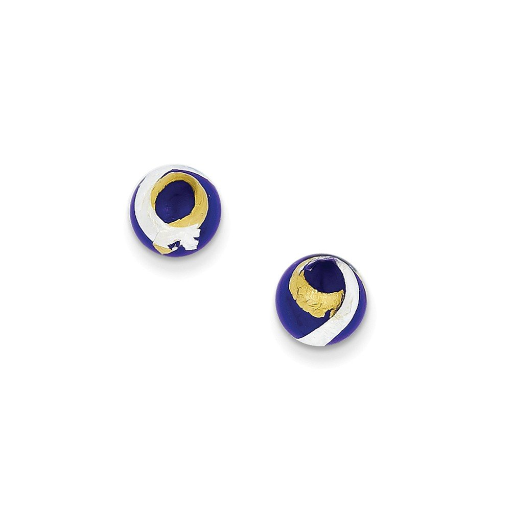 .925 Sterling Silver 8 MM Blue, Gold & Silver Color Italian Murano Glass Post Stud Earrings