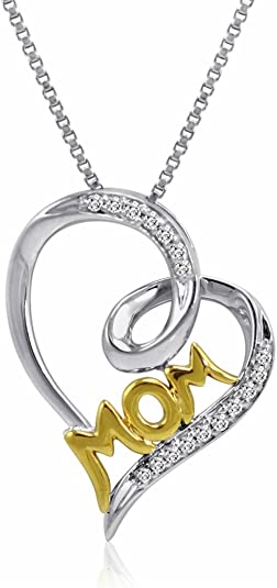 Silver 1//10ct TDW Crystals  Snowflake Necklace