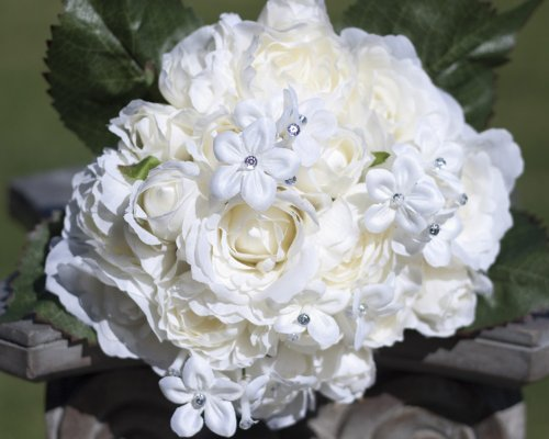 (Cream with Rhinestones Ranunculus and Roses Silk Bouquet - Wedding Party Flowers Arrangements Gift)