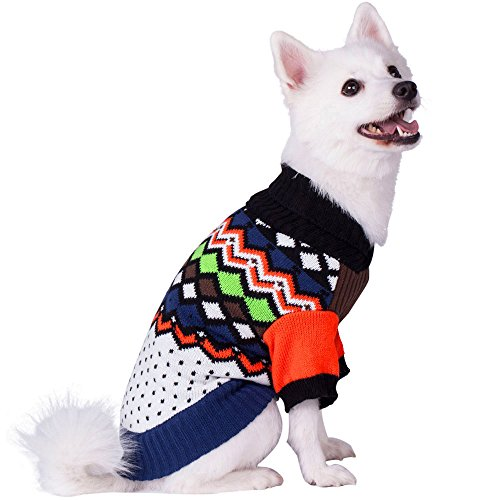 Image of Blueberry Pet 8 Patterns Over The Rainbow Multicolor Argyle Pattern Shawl Collar Dog Sweater, Back Length 10
