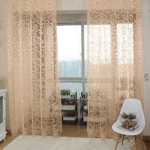 Solid Sweet Floral Tulle Voile Door Window Curtains Black - 5