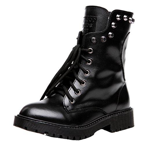 MatchLife Women's Lace Up Martin Rivet Vintage Shoes Style1-Black