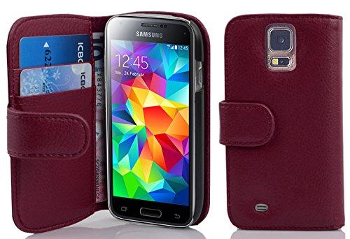 Cadorabo - Funda Samsung Galaxy S5 MINI / S5 MINI DUOS Book Style de Cuero Sintético en Diseño Libro - Etui Case Cover Carcasa Caja Protección con Tarjetero en NEGRO-ÓXIDO BURDEOS-VIOLETA