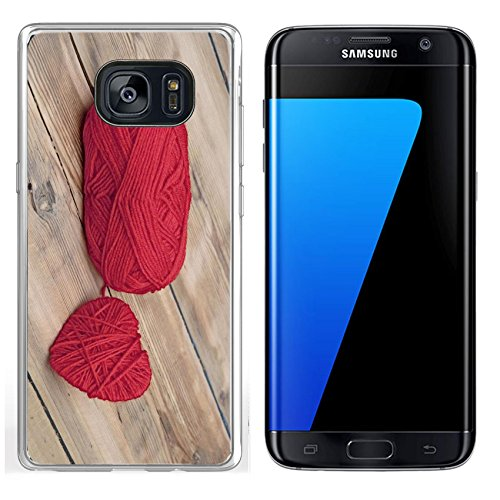 Luxlady Samsung Galaxy S7 Edge Clear case Soft TPU Rubber Silicone IMAGE ID: 22923613 Knitted heart and red of yarn on wood - Yarn Woods Print