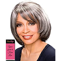 Madison Wig Color 4 Med Dark Brown - Foxy Silver Wigs Mid-Length Hand-Stitched Full Layered Page Cut African American Lightweight Average Cap Bundle w/MaxWigs Hairloss Booklet