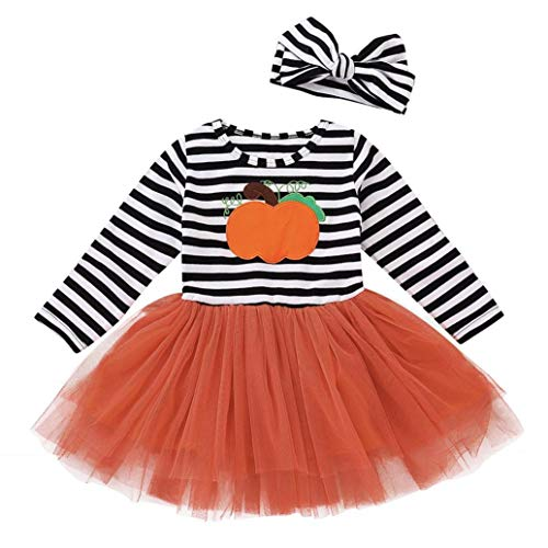 Price comparison product image Baby Girls Halloween Clothes,Leegor Kids Pumpkin Striped Print Long Sleeve Dress+Headbands Set