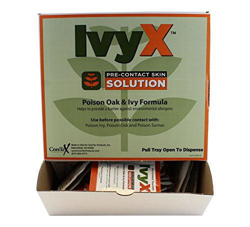 CoreTex Ivy X Towelettes, Pre-Contact Solution, Protects Skin From Poison Ivy/Oak/Sumac, 50 ct. Dispenser Box (83662) (Wash Skin Contact)
