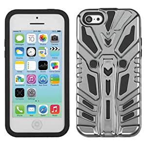 CY ZENOBOTS Dual Layer Armor Cover Case with Kick Stand For Apple Iphone 5C LITE (Include a Free CYstore Stylus Pen) - Silver Plating/Black