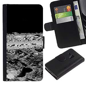 Protector de cuero de la PU de la cubierta del estilo de la carpeta del tirón BY RAYDREAMMM - Samsung Galaxy S3 MINI 8190 - Luna Lunar Surface