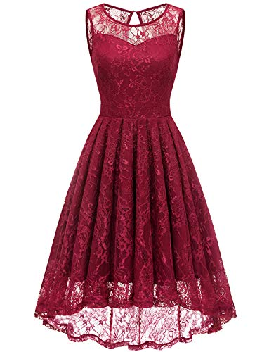 (Gardenwed Women's Vintage Lace High Low Bridesmaid Dress Sleeveless Cocktail Party Swing Dress Dark Red 2XL)