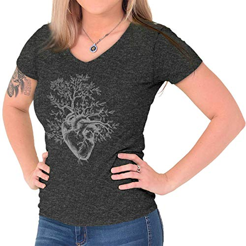 Sprouting Tree Heart Symbolic Grow Imagery Junior Fit V-Neck T Shirt Dark Heather