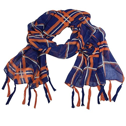 Navy Blue & Orange Plaid Fringe Tassel Lightweight - Blue Orange Navy And
