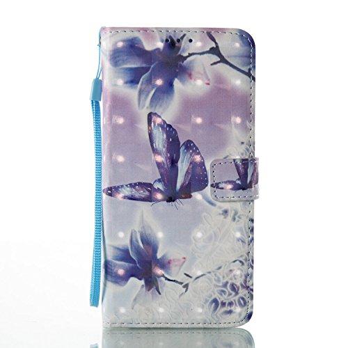 Funda LG LS775, 5.7 pulgadas, Cáscara LG LS775, Alfort 2 en 1 Casco de Protección PU para el LG LS775 + 1 raíz horca Material de la PU de alta calidad diseño de moda Carcasa del teléfono con una funci La Mariposa Y La Flor