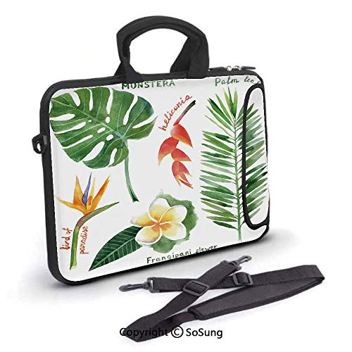 10 inch Laptop Case,Bird of Paradise Palm Leaf and Assorted Exotic Flowers Watercolor Decorative Neoprene Laptop Shoulder Bag Sleeve Case with Handle and Carrying & External Side Pocket,for Netbook/Ma