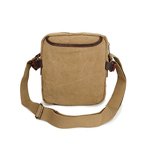Bag Zipper Comfortable Khaki Messenger Retro Shopping Simple Color Canvas Waterproof Shoulder 0qgxpwT