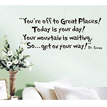 LUCKKYYu0026reg;Youu0027re off to great places... Dr seuss Wall Sticker  sc 1 st  Amazon.com & Amazon.com: LUCKKYYu0026reg;Youu0027re off to great places... Dr seuss Wall ...