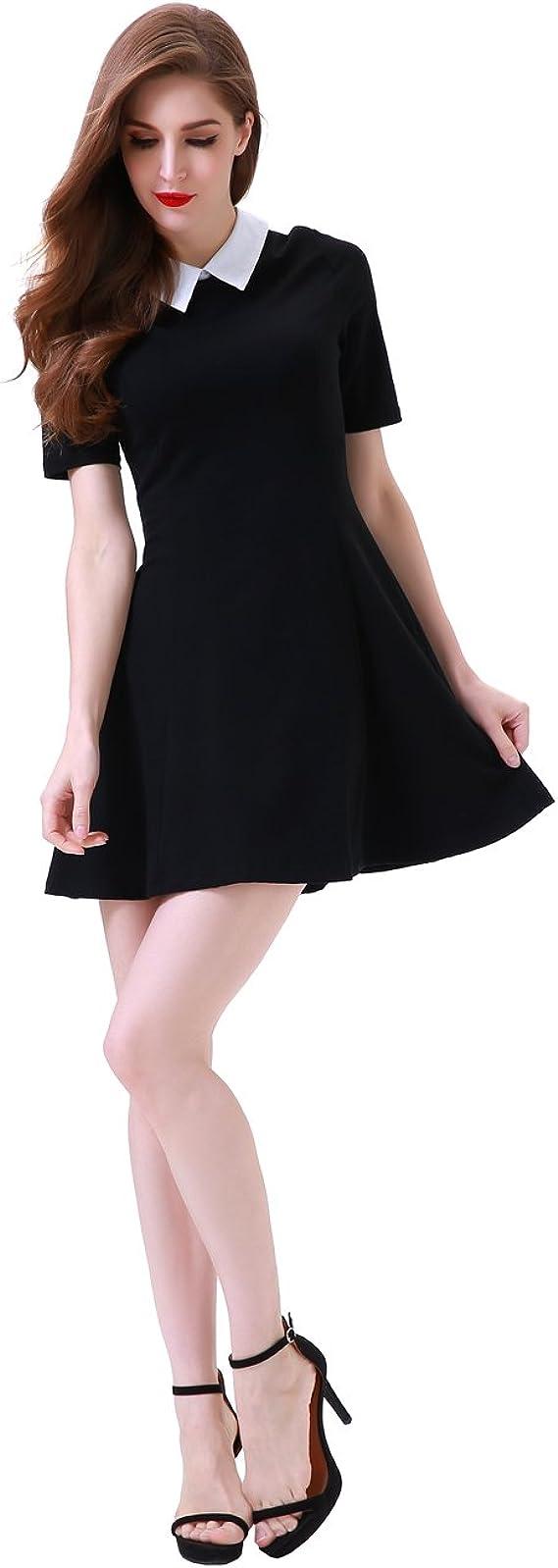 Andongnywell Womens Long Sleeve Peter Pan Collar Dress Doll Neck Flare Skater Dress Above Knee Tunic Dress