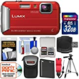 Panasonic Lumix DMC-TS30 Tough Shock & Waterproof Digital Camera (Red) with 32GB Card + Case + Battery + Tripod + Float Strap + Kit