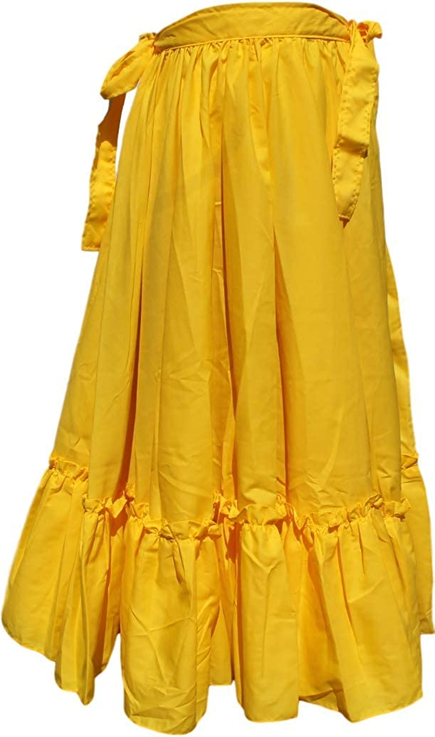 Mexican Full Folkloric Women's Flamenco Yellow Dance Skirt - DeluxeAdultCostumes.com