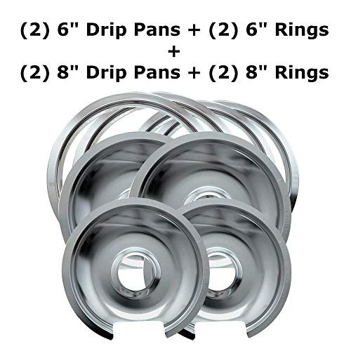 "- 1056RGE8 Style D Chrome 8-piece, 2 Small 6"" & 2 Large 8"" Pan/Ring Set Replacement for GE/Hotpoint"
