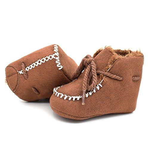 ESHOO niños invierno cálido ajustables zapatos Bebé Kids Casual antideslizante botas marrón marrón Talla:12-18 meses marrón