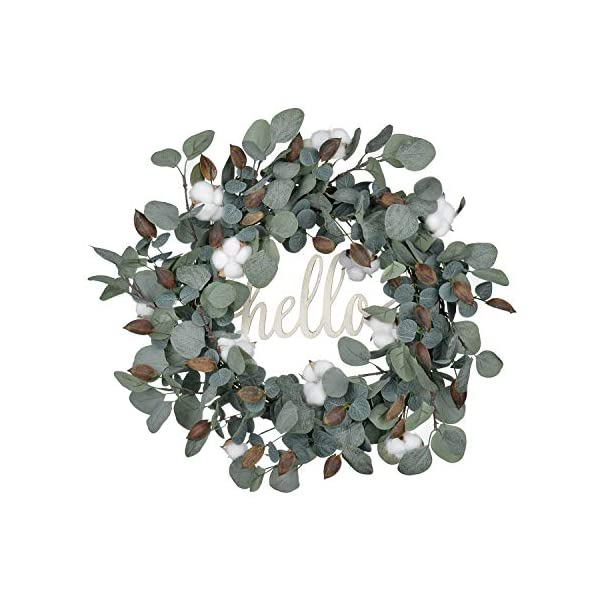 FAVOWREATH 2019 Vitality Series FAVO-W174 Handmade 20 inch Hello Letter,Eucalyptus,Cotton Flowers,Leaf Grapevine Wreath Summer/Fall Front Door/Wall/Fireplace Floral Hanger Home Every Day Decor
