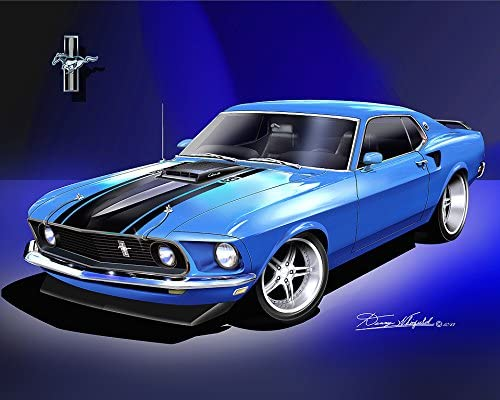 "19/"" x 13/"" Poster 1969 Mustang Boss 429 Classic Muscle Car"
