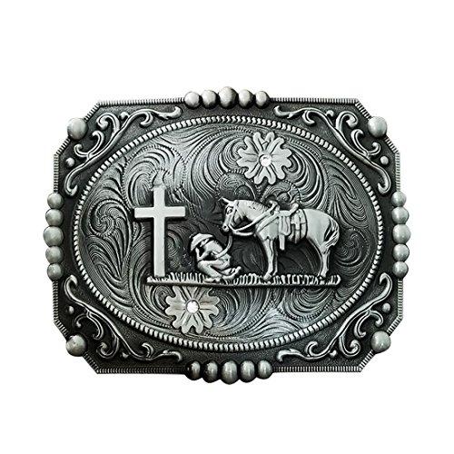 (QUKE American Western Celtic Cross Horseman Horse Rhinestone Religious Belt Buckle)