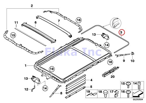 BMW Genuine Sliding Lifting Roof Sunroof Seal - Surrounding Seal 4090 Mm X5 3.0i X5 4.4i X5 4.8is 530xi 535xi X5 3.0si X5 3.5d X5 4.8i X5 M X5 35dX X5 35iX X5 50iX X3 2.5i X3 3.0i X3 3.0i (Genuine Bmw Sunroof)