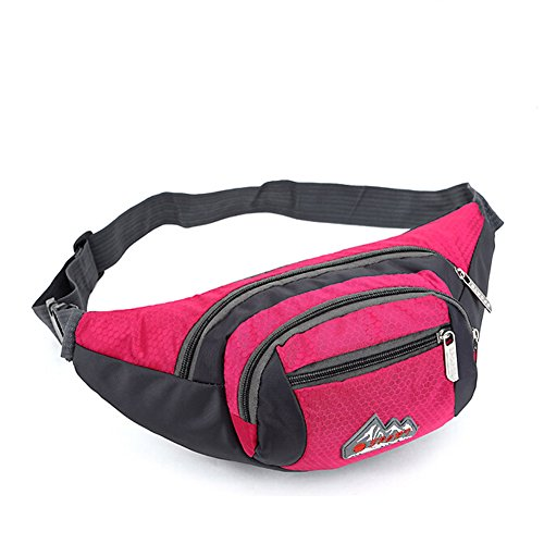 Unisex Waist Bag Pack Sports Travel Cycling Waist Purse Red - 7