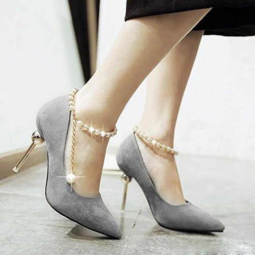 L@YC Zapatos De TacóN Alto De Las Mujeres apuntado Cortan Con Los Zapatos De La Boda De La Hebilla Los Zapatos Moldeados Moldeados De La Boca Gray