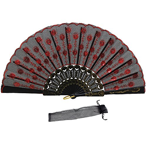 Newstarfactory Peacock Feather Red Sequins Design Black Plastic Folding Hand Fan Fancy Fan