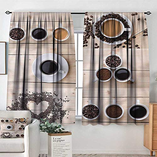 """Sanring Kitchen,Customized Chid Curtains Coffee Mugs Snacks Beans 72""""x63"""" 2 Panes Bedroom Kitchen Curtains"""
