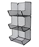 ESYLIFE Multipurpose Wall Mount 3 Tier Bathroom Towel Basket Wire Kitchen Storage Bin Organizer Fruit Rack Stand, Black