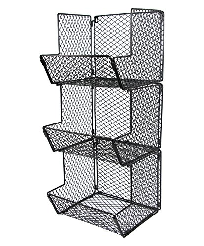 ESYLIFE Multipurpose Wall Mount 3 Tier Bathroom Towel Basket Wire Kitchen Storage Bin Organizer Fruit Rack Stand, Black by Esy-Life