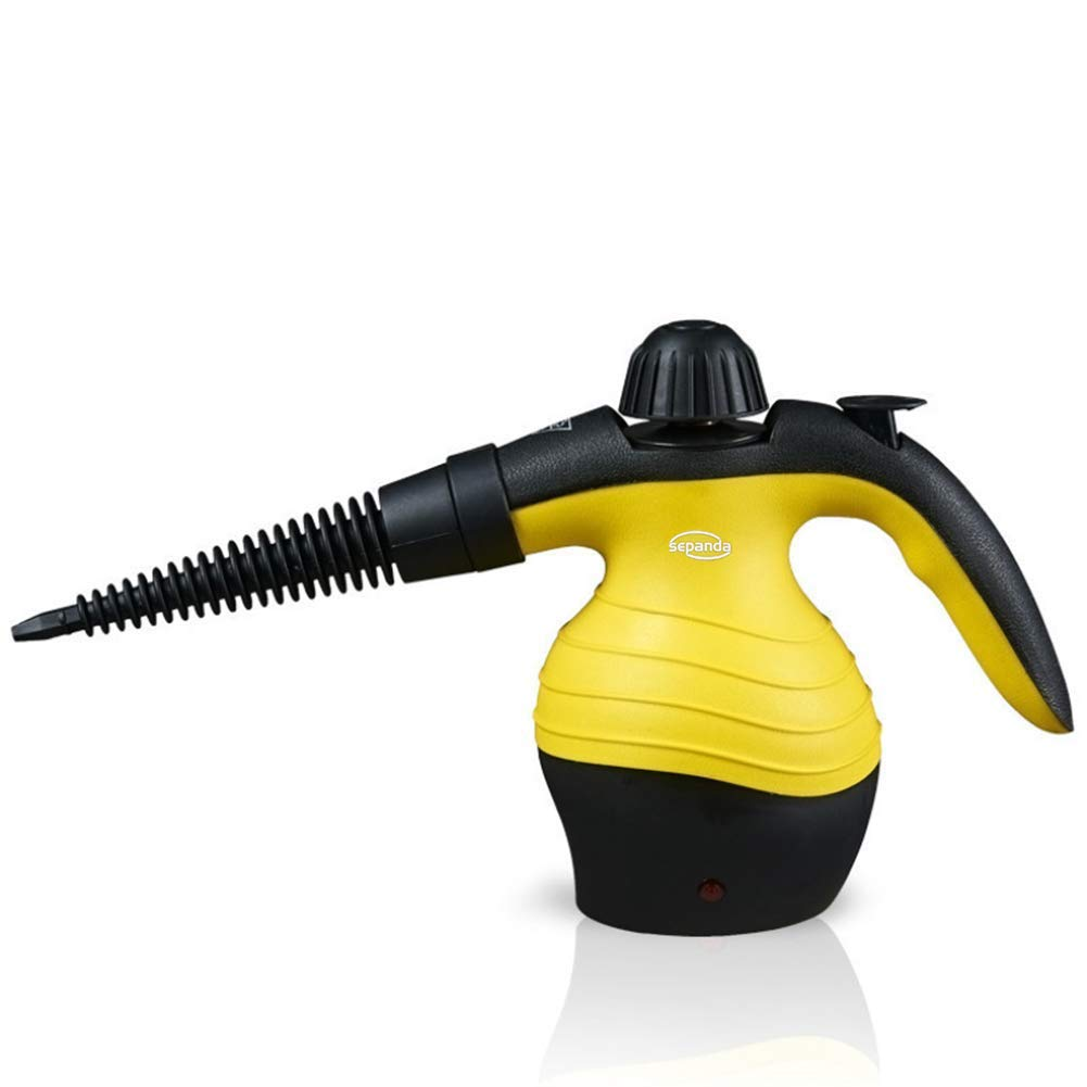 Sepanda Handheld Pressurized Steam Cleaner Multi-Purpose Steamer Chemical Free 9-Piece Accessories, Perfect for Stain Removal, Curtains, Car Seats, Floor, Window Cleaning & Much More - Yellow