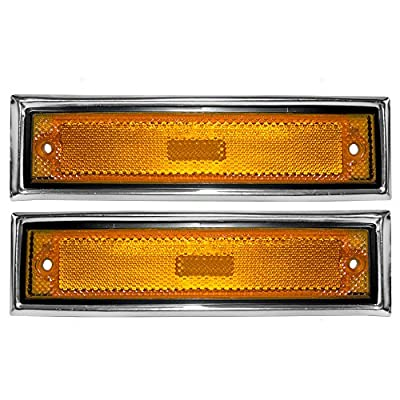Aftermarket Replacement Driver and Passenger Set Front Signal Side Marker Light Aftermarket Replacement Amber with Chrome Trim Compatible with 81-91 C/K Pickup 915557 915558: Automotive