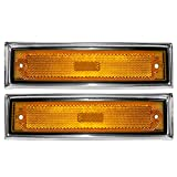 81 chevy c10 parts - Driver and Passenger Front Signal Side Marker Lights Replacement Amber with Chrome Trim for Chevrolet GMC Truck 915557 915558