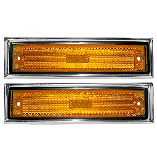 Driver and Passenger Front Signal Side Marker Lights Replacement Amber with Chrome Trim for Chevrolet GMC Truck 915557 915558