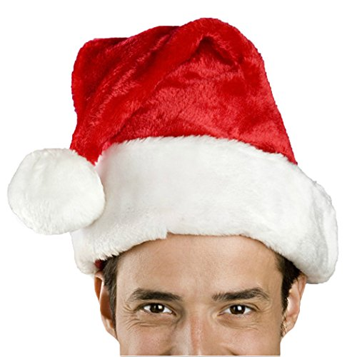Santa Hat-Christmas Costume Classic Hat for Adult, Red/White