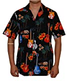 Island Guitars Hawaiian Aloha Shirt, L, BLACK