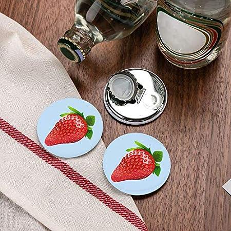 Abrebotellas redondas de imágenes prediseñadas de fresa / Imanes de nevera Sacacorchos de acero inoxidable Etiqueta magnética 2 piezas