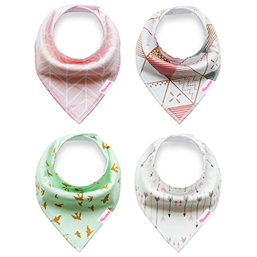 Kolamom Bandana Drool Baby Bibs 4 Pack Absorbent 100% Cotton Bib Baby Gift for Girls Fresh Set