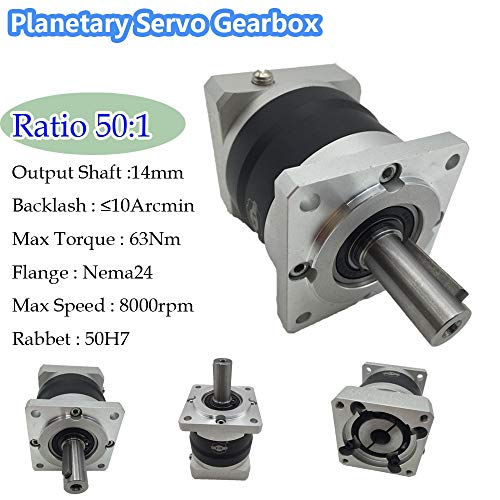 - Fevas Gear Ratio 50:1 Planetary Servo Speed Reducer Nema24 Gearbox <10ARCMIN Backlash for 60mm Servo Motor CNC
