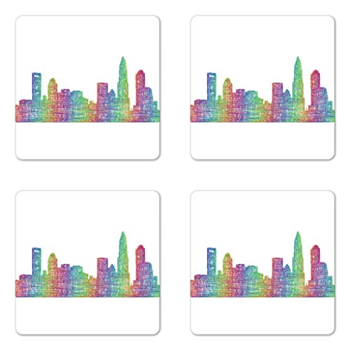 Lunarable North Carolina Coaster Set of Four, Contemporary Style Charlotte City Scene in Colorful Buildings USA Panorama, Square Hardboard Gloss Coasters for Drinks, Multicolor