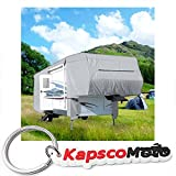 5th wheel cover waterproof - Waterproof Superior 5th Wheel Toy Hauler RV Motorhome Cover Fits Length 33'-37' New Fifth Wheel Travel Trailer Camper Zippered Panels Heavy Duty 4 Layer Fabric + KapscoMoto Keychain